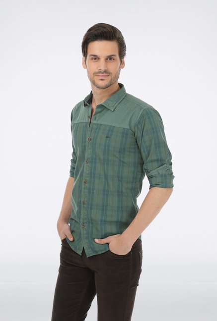 Basics Green Checkered Grunge Shirt