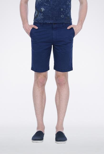 Basics Blue Knee Length Shorts