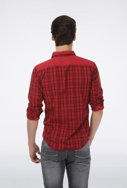 Basics Red Checkered Grunge Shirt