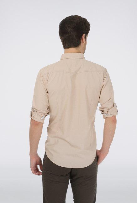 Basics Beige Cotton Shirt