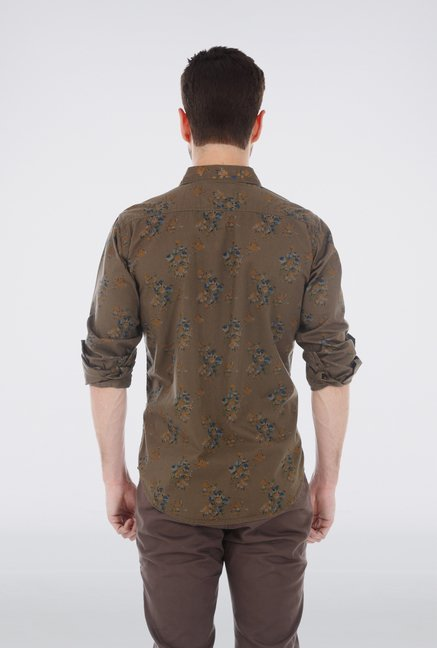 Basics Brown Printed Casual Shirt