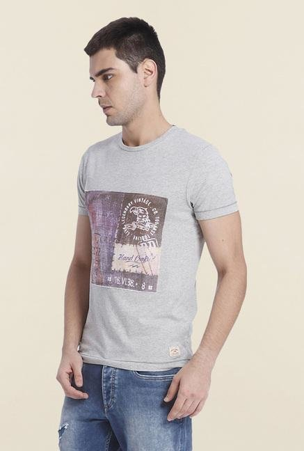 Jack & Jones Grey Printed Cotton T Shirt