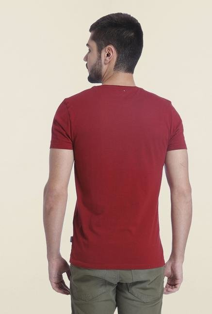 Jack & Jones Burgundy Printed Slim Fit T Shirt