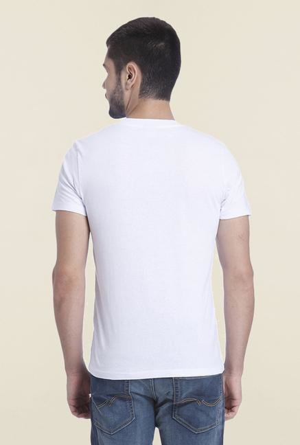Jack & Jones White Printed Cotton T Shirt