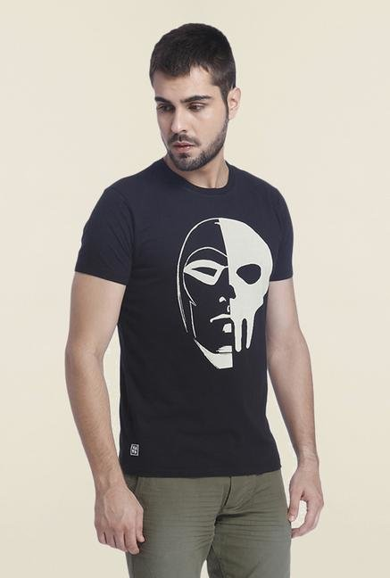 Jack & Jones Black Casual Printed T Shirt