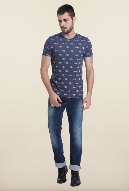 Jack & Jones Indigo Slim Fit Printed T Shirt