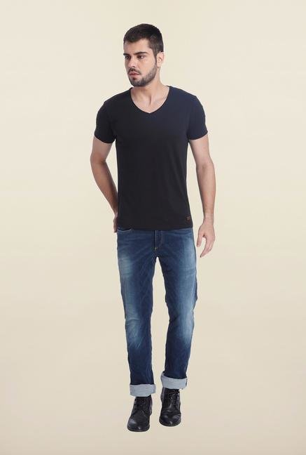 Jack & Jones Black Solid Slim Fit T Shirt