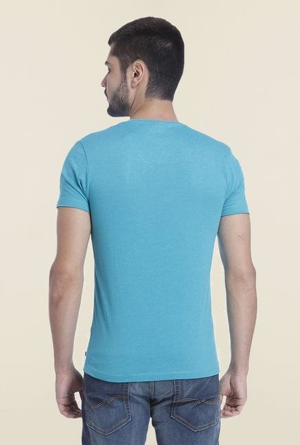 Jack & Jones Aqua Solid V Neck T Shirt