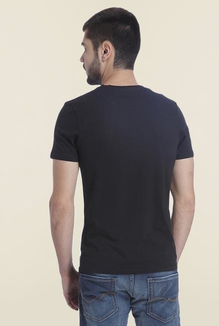 Jack & Jones Black Printed Casual T Shirt
