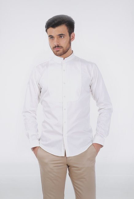 Basics White Slim Fit Shirt