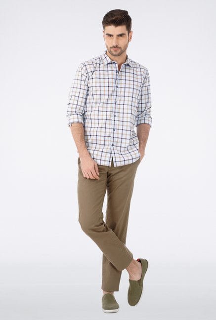 Basics Brown Slim Fit Casual Trouser