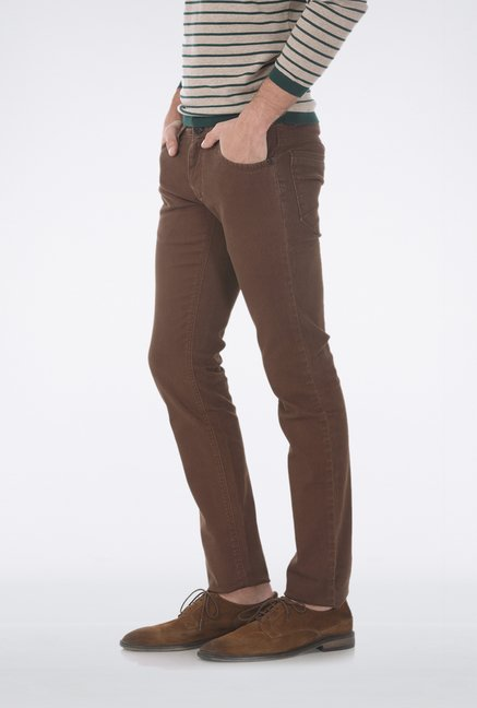 Basics Brown Skinny Fit Casual Trouser