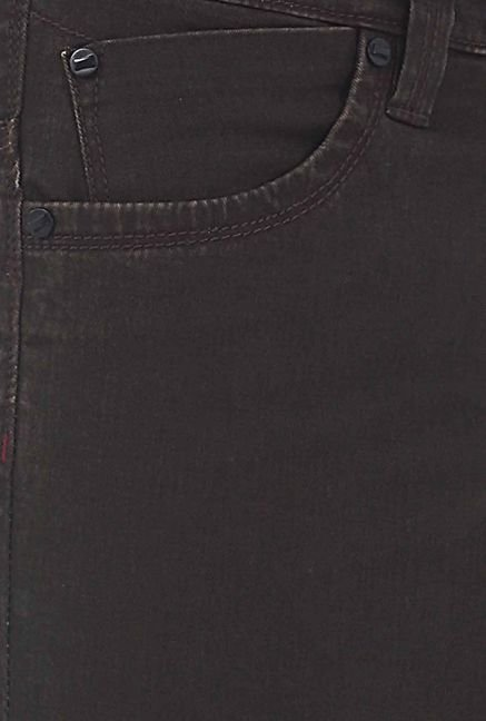 Basics Dark Brown Skinny Fit Casual Trouser