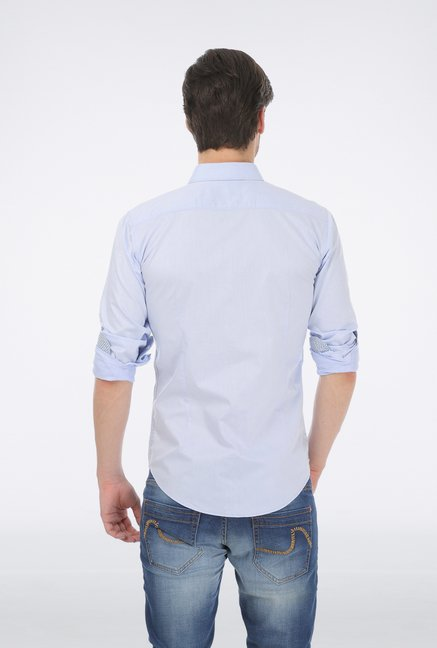 Basics Blue Dobby Wovem Shirt