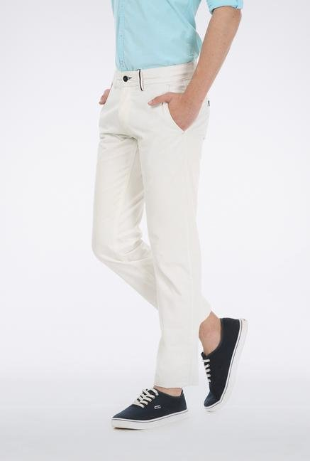 Basics White Cotton Tapered Trouser