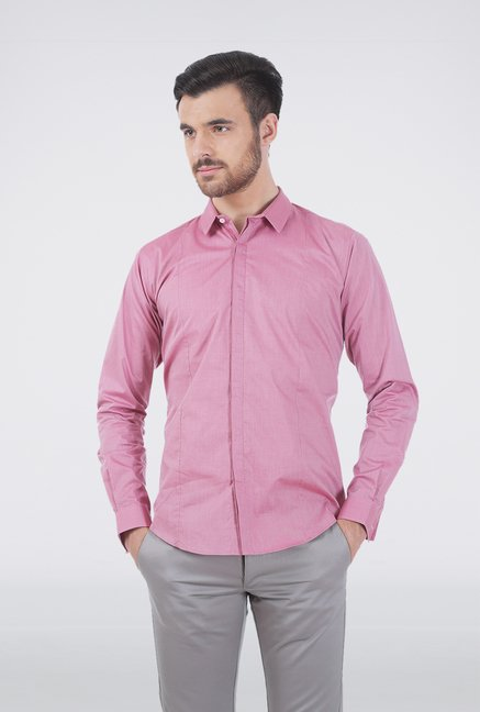 Basics Pink Slim Fit Shirt