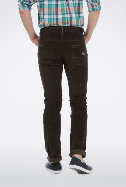 Basics Dark Brown Cotton Trouser