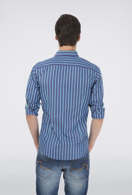 Basics Blue Cotton Striped Shirt