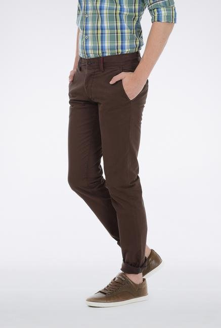 Basics Brown Cotton Tapered Trouser