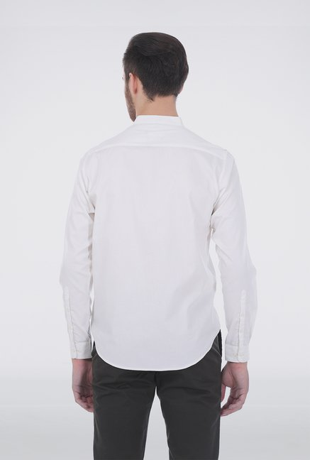Basics Off-White Dobby Weave Shirt