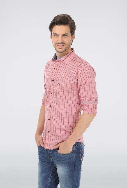 Basics Pink Slim Fit Formal Shirt