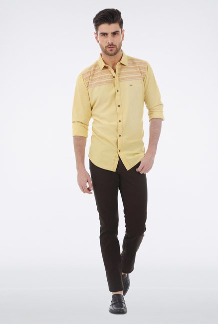 Basics Yellow Embroidered Shirt