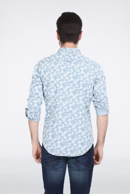 Basics Blue Printed Denim Shirt