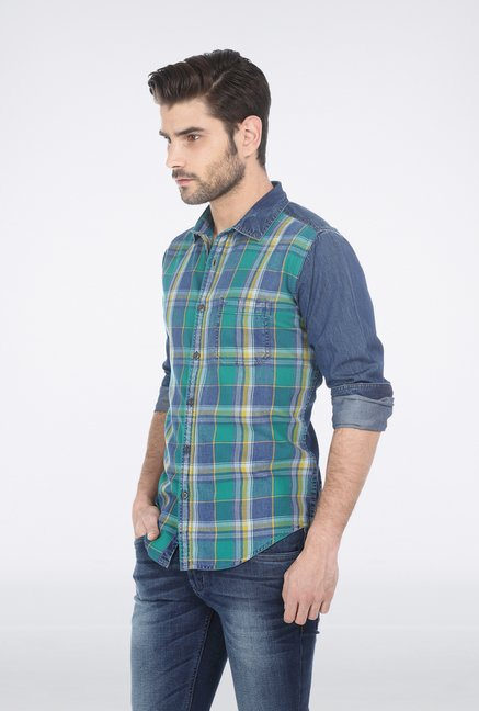 Basics Green Plaid Denim Shirt