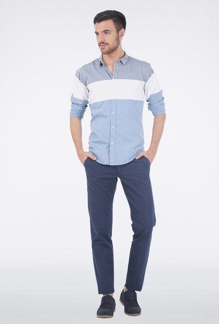 Basics Dusk Blue Casual Shirt