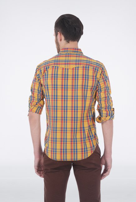 Basics Yellow Checkered Shirt