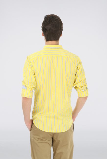 Basics Yellow Slim Fit Casual Shirt