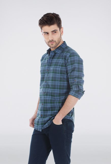 Basics Green Plaid Casual Shirt