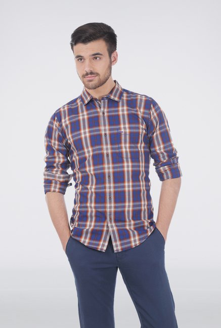 Basics Brown Checkered Casual Shirt