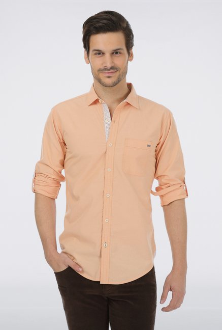 Basics Peach Cotton Casual Shirt