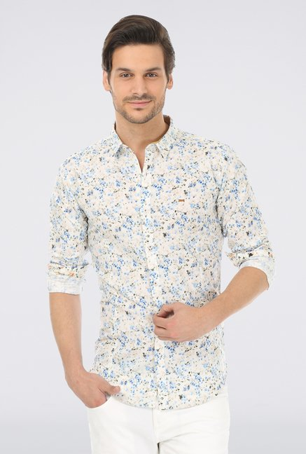Basics Blue Printed Linen Shirt