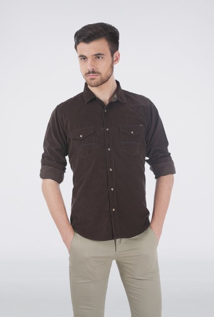 Basics Brown Corduroy Shirt