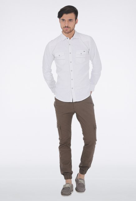 Basics White Corduroy Shirt