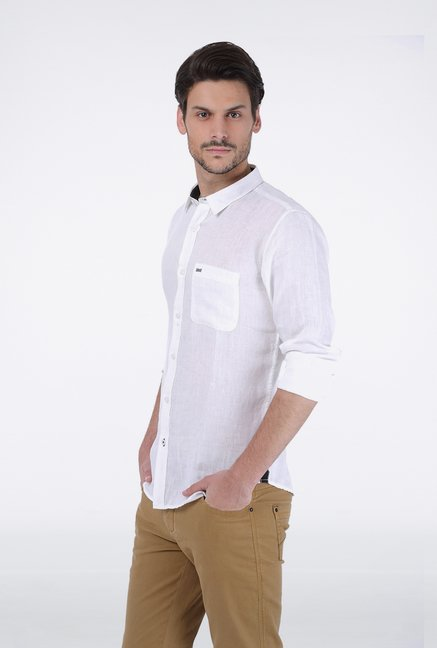 Basics White Chambray Linen Shirt
