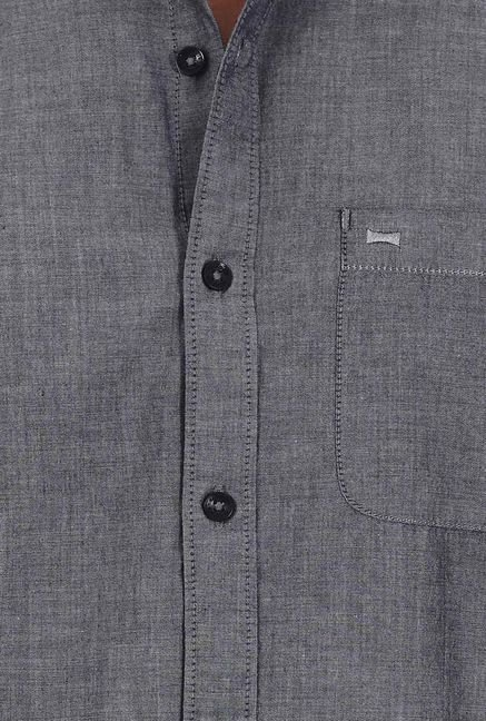 Basics Dark Grey Chambray Cotton Shirt