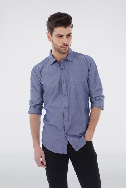 Basics Navy Chambray Cotton Shirt