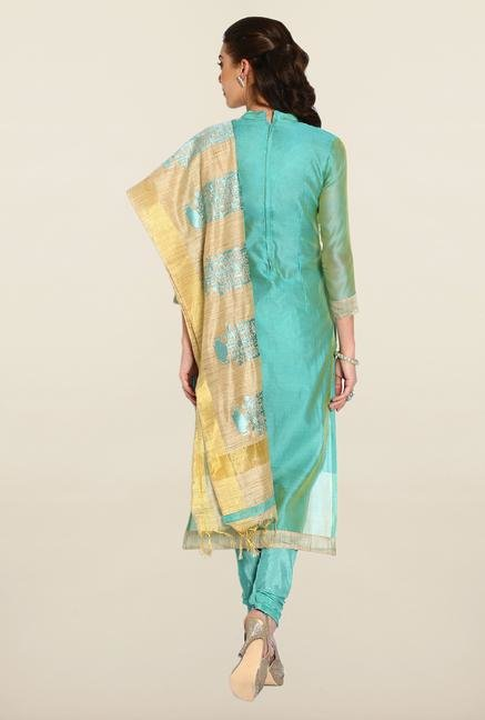 Soch Sea Green & Beige Embroidered Dress Material