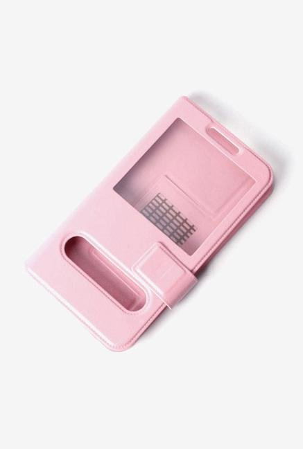 Callmate Window Sticker Flip Case for Karbonn A11 Pink
