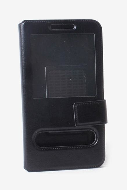Callmate Window Sticker Flip Case for Karbonn A11 Star Black