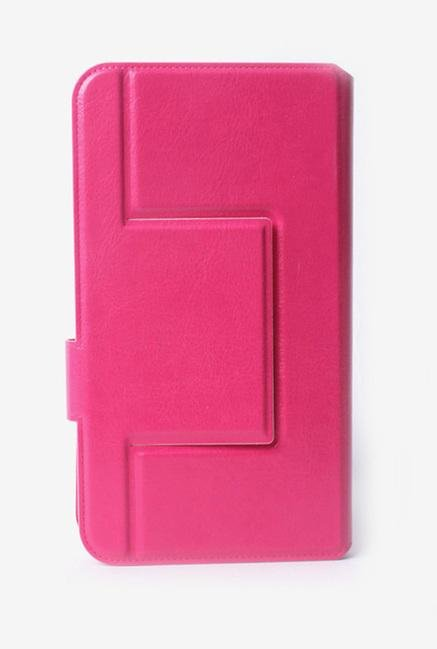 Callmate Window Sticker Flip Cover for Lava 352e Dark Pink