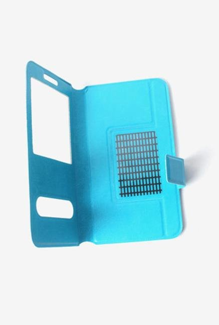 Callmate Window Sticker Flip Cover for Micromax A54 Sky Blue