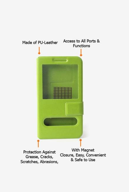 Callmate Window Sticker Flip Cover for Micromax A54 Green