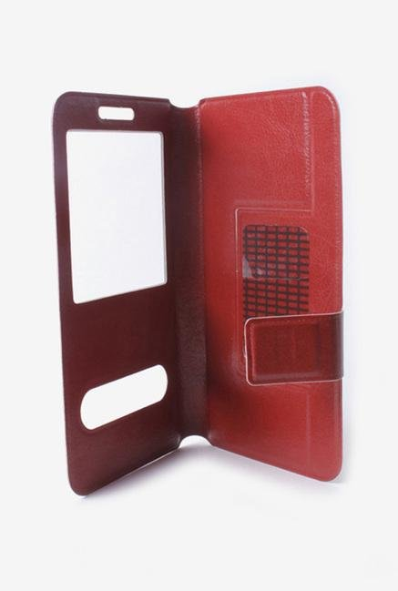 Callmate Window Sticker Flip Case for MicromaxA54 Dark Brown
