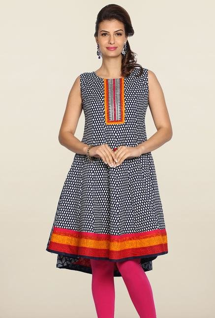 Soch Indigo & White Printed Cotton Kurti