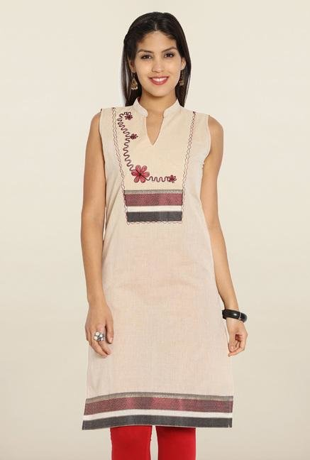 Soch Beige & Red Embroidered Cotton Kurti
