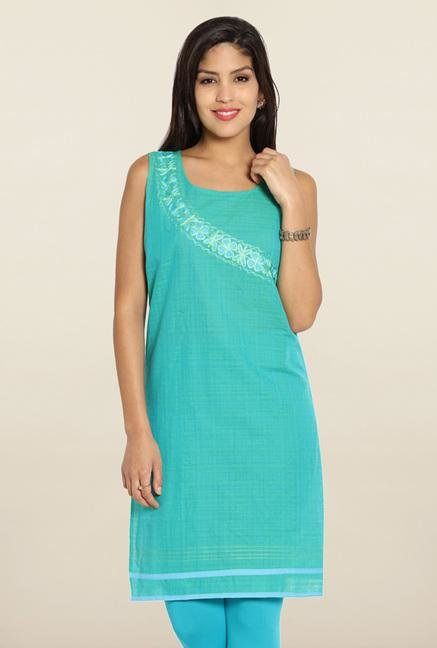Soch Turquoise Embroidered Cotton Kurti